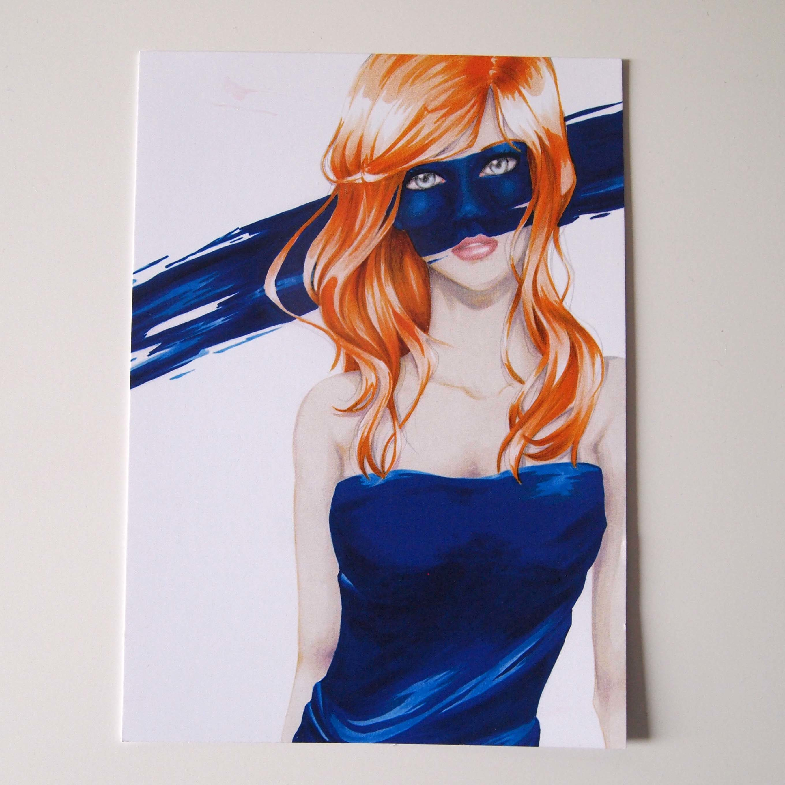 Postkarte Blue Mask